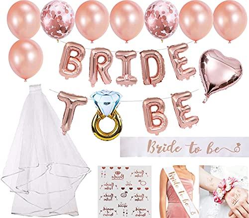 Junggesellenabschied frauen Deko JGA Deko Bride to Be Folienballons Rosegold, Schärpe,Rosegold Luftballons und Brautschleier Braut to Be Deko
