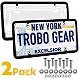 Trobo License Plate Covers And Frames, 2 Pack Unbreakable Tag Cover To Protect Car Front Or Rear Plates, Clear Bubble Design Novelty License Plate Shields, Fits All Standard US Plates, Screws Included