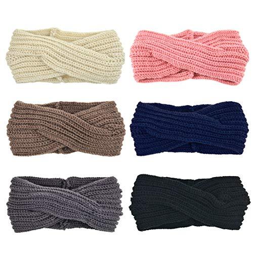 DRESHOW 6 Piezas Crochet Arco Turbante Knit Diadema Mujer Invierno Vendas Elasticas Anchas Tejida Lana Cintas Para El Pelo Banda de pelo más cálido