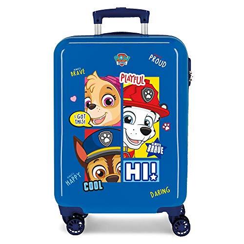 Paw Patrol La Patrulla Canina Be Happy Maleta de Cabina Azul 38x55x20 cms Rígida ABS Cierre combinación 34L 2,6Kgs 4 Ruedas Dobles Equipaje de Mano