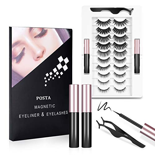 10 Pairs Eyelashes, POSTA Magnetic Eyelashes 2pcs Eyeliner, 3D False Eyelashes, With Tweezers, Magnetic Eyeliner and Magnetic Eyelash Kit for Women