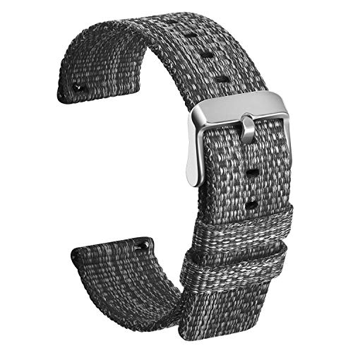 Ullchro Nylon Correa Reloj Calidad Alta Correa Relojes Militar del ejército - 16mm, 18mm, 20mm, 22mm, 24mm Correa Reloj con Hebilla de Acero Inoxidable (20mm, Black)