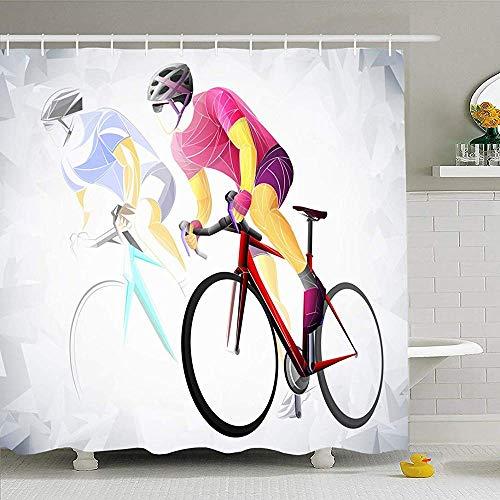Hotyle Duschvorhang Set Mit Haken 140X180 cm Radfahren Sport Radfahrer Fit Schnelle Schatten Rot Menschen Sport Erholung Männliche Geschwindigkeit Fahrrad Rennrad