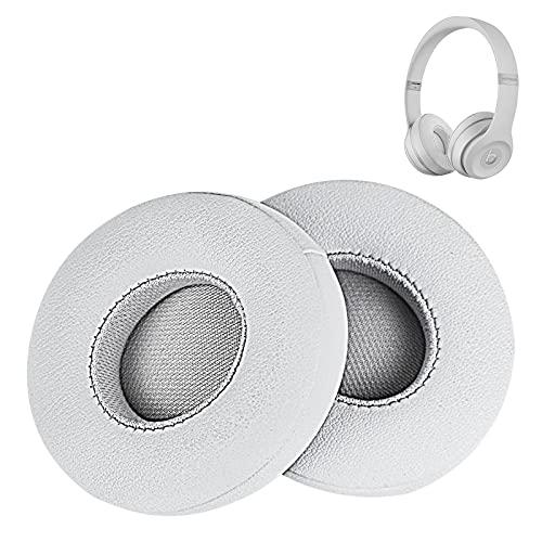 Solo 3 cuscinetti auricolari in pelle sintetica memory foam di ricambio per cuffie Beats by Dr DRE Solo3 Wireless Solo2 Wired Wireless A1796 B0518 B0534 (argento satinato)
