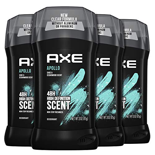 AXE Aluminum Free Deodorant for Long Lasting Odor Protection Apollo Sage & Cedarwood Mens Deodorant Formulated Without Aluminum 3.0 oz 4 Count