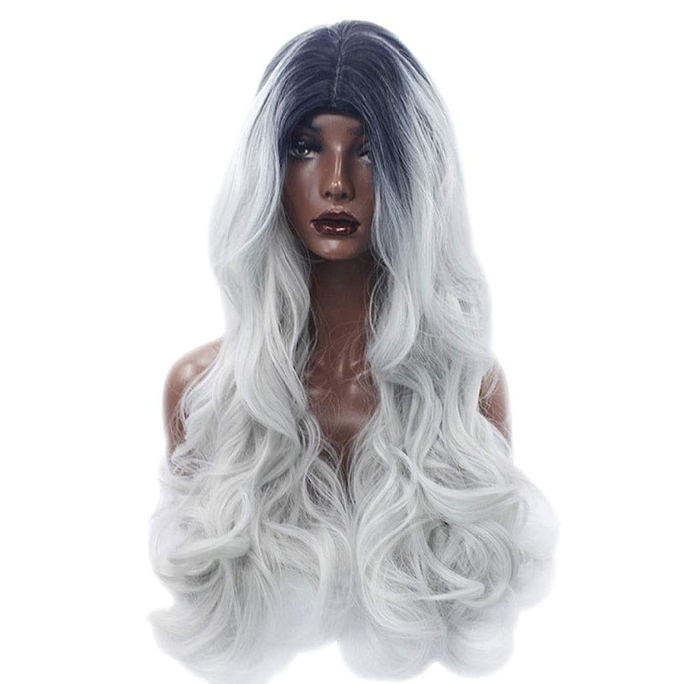 時代生産的溶融BOBIDYEE グラデーションかつら女性用仮装ロングフルヘッドコスプレかつら女性用合成かつらレースかつらロールプレイングかつら (色 : Photo Color)