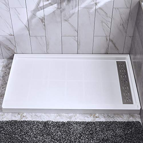 Woodbridge SBR6032-1000R Solid Surface Shower Base with Recessed Trench Side Including Stainless Steel Linear Cover, 60