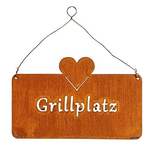 levandeo Schild Grillplatz 25x16cm Herz Garten-Deko Rost Rostdeko Türschild Wandbild Schriftzug Wanddeko Grillen Sommer