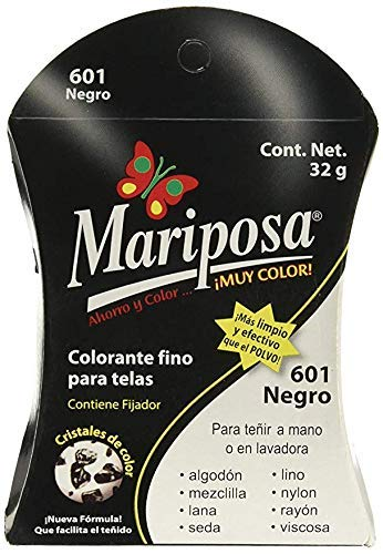 Mariposa Colorante Para Ropa, Cristales De Color Negro Numero 601, 32 G, Pack of 1