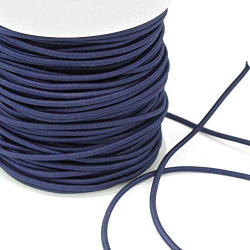3 Yards of REILLY 3mm Round Elastic Cord, Navy Blue