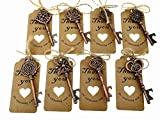80pcs Skeleton Key Bottle Opener Wedding Party Favor Souvenir Gift with Escort Tag and Jute Rope(Red Copper Tone,8 styles)
