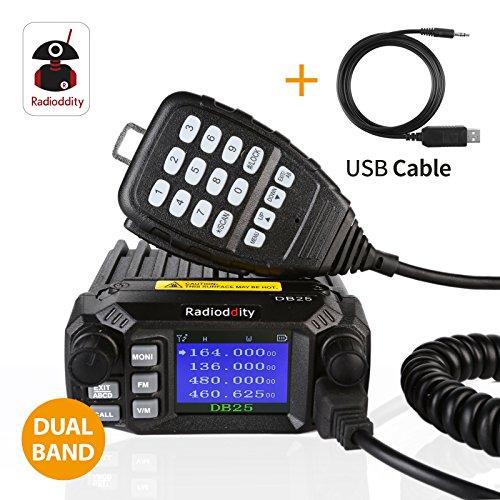 Radioddity DB25 PMR Dual Band Quad-standby Mini Mobile Coche Truck Radio, VHF UHF 4 Color Display, 25W/10W Car Transceptor with Cable de Programación & CD