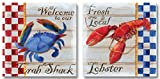 Gango Home Décor Retro Crab Shack and Fresh Lobster Signs; Two 12 x 12 Poster Prints