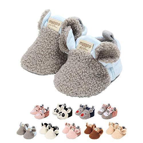 EDOTON Unisex Neugeborene Tier Schuhe,Süß rutschfest Sohle Weich Winter Warm Haus Innen Ausdruck Stiefel zum Baby Jungs Mädchen (0-6 Monate, C_Grau)