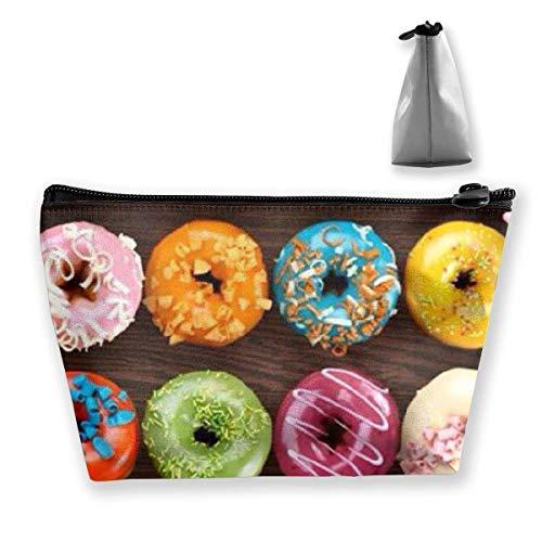 DJNGN Bunte Donut multifunktionale trapezförmige Aufbewahrungstasche Kulturbeutel Reißverschluss Empfangstasche