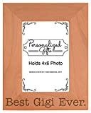 ThisWear Birthday Gift for Grandma Best Gigi Ever Natural Wood Engraved 4x6 Portrait Picture Frame Wood