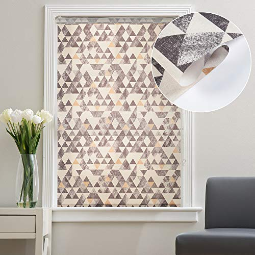 Deco Window Customized Printed Polyester Corded Semi-Blackout Roller Blinds for Windows Door Office Home Decor Curtains (37' Wide X 84 Long, Geometric Grey)