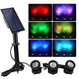 WishHome Solar Pond Lights Outdoor, Submersible 3 in 1 RGB LED Fountain Lights, Dusk to Dawn Landscape Spotlight for Garden, Patio, Tree, Lawn (Color Change + Stay on)