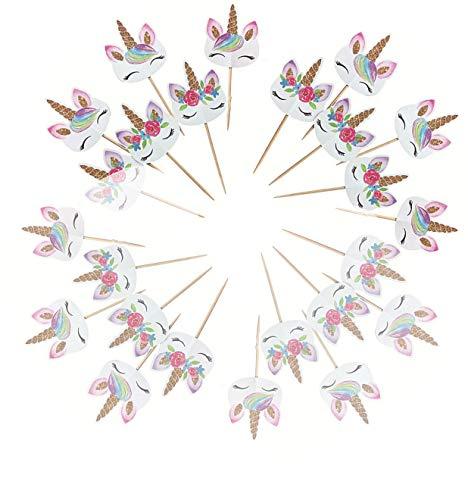 CHUANGOU Cupcake Toppers 24 Piezas Unicornio Cupcake Decoracin para Despedida de Soltera Fiesta Infantil