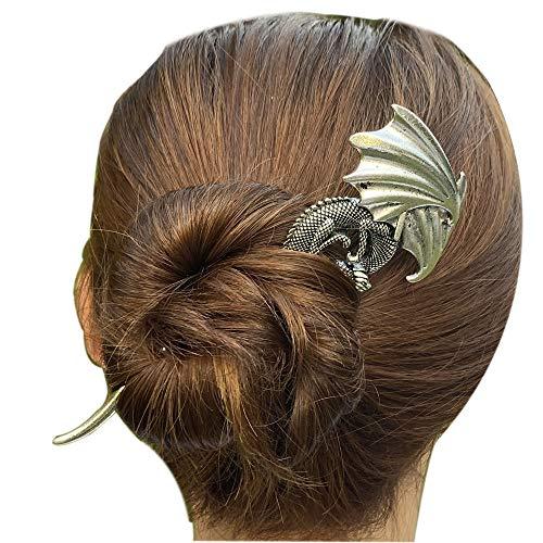 Viking Celtic Hair Sticks Hairpin-Viking Hair Clip Sticks for Long Hair Stick Slide Irish Hair Accessories (Dragon)