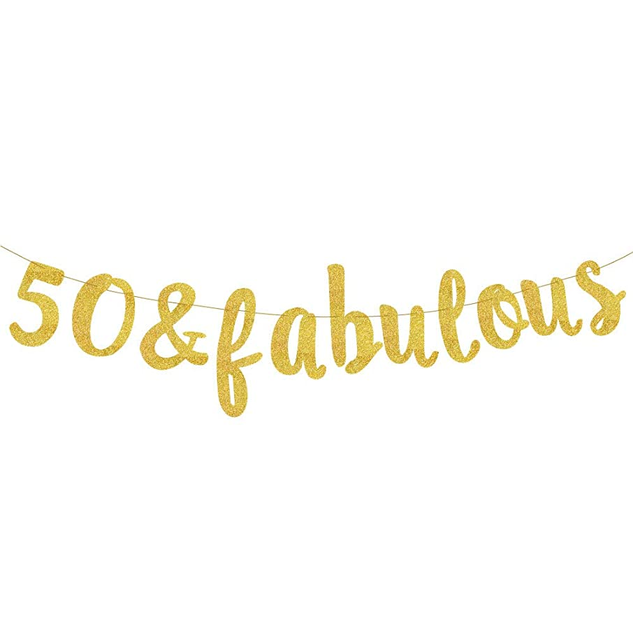 50 & Fabulous Gold Glitter Banner - Happy 50th Birthday Party Banner – 50th Wedding Anniversary Decorations - Milestone Birthday Party Decorations