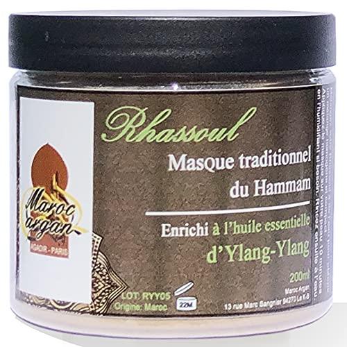 Rhassoul en poudre à l'huile essentielle d'Ylang-Ylang - Argile Purifiante 100% Naturelle et Hypoallergénique - Masque Peau et Cheveux - 250g
