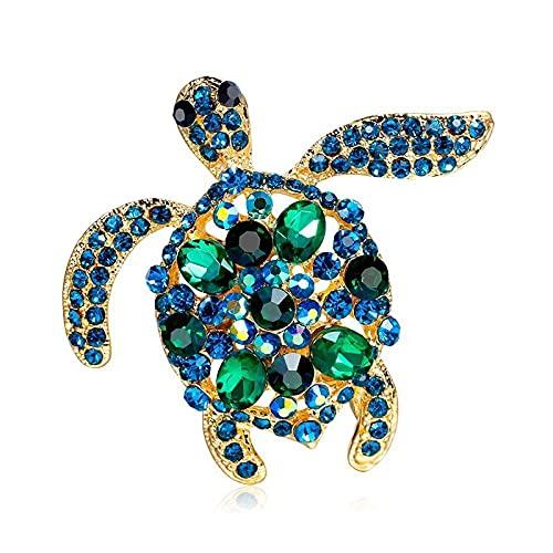 QYQMYK Broches De Tortuga con Diamantes De Imitación Verdes, Broches Informales para Fiesta De Animales con Tortuga Marina para Hombres Y Mujeres, Regalos