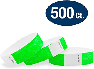 """WristCo Neon Green 3/4"""" Tyvek Wristbands - 500 Pack Paper Wristbands For Events"""