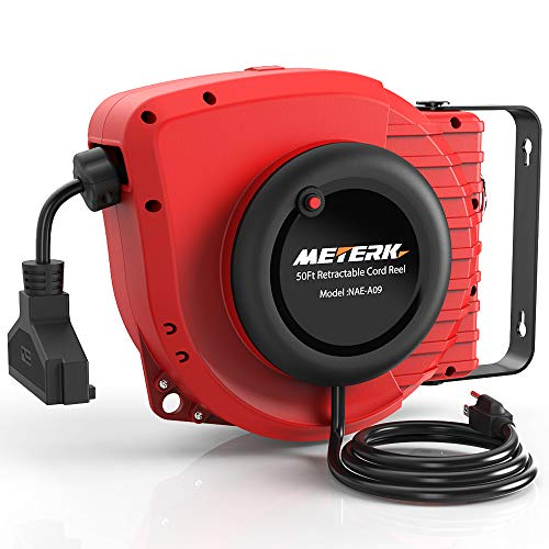 Retractable Extension Cord, Meterk 50+4.5FT Power Cord Reel, 14AWG 15A, 3C SJTOW, 180°Swivel Mounting,Triple Socket, Reset Button and Adjustable Stopper