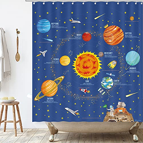 BASHOM BSC-214 The Solar System Shower Curtain Set for Kids Waterproof Washable Decorative Bathroom 71''x71'' (180x180cm) Polyester Fabric with 12 Hooks Colourful Educational Country Liner Tapestry