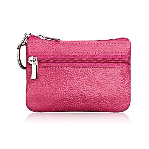 Hibate 1x Pink Mini Leder Münzbeutel Münzbörse Münzfach für Damen Mädchen Kinder Klein Coin Purse Wallet
