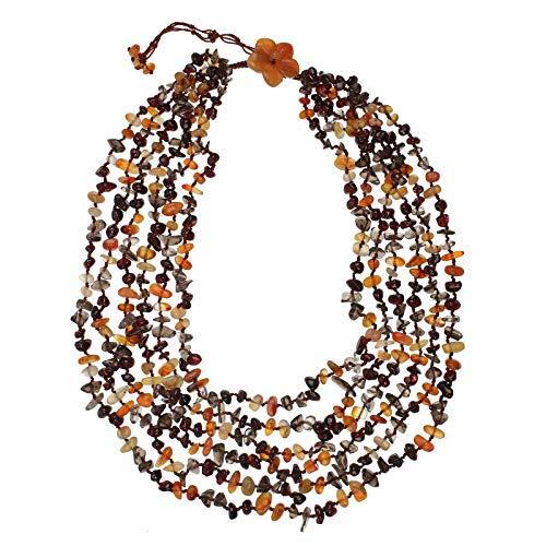 Jewel24 Damen Halskette mit Karneol Rauchquarz und Granat 60 cm lang Wasserfall-Collier mehrreihig