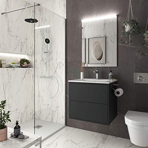 Yellowshop. - Mobile Bagno sospeso 60 cm Design Moderno 2 cassetti lavabo specchiera LED MOD. Optimus (Nero Opaco)