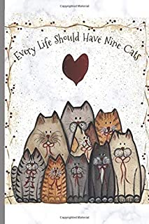 """Every Life Should Have Nine Cats: Funny Cute Cartoon Cats - Lined Journal to Write in - Retro Design on Grey Marble - Trendy Ruled Note Book/ Personal Diary - 6 x 9"""" - 120 Pages - Ideal Gift"""