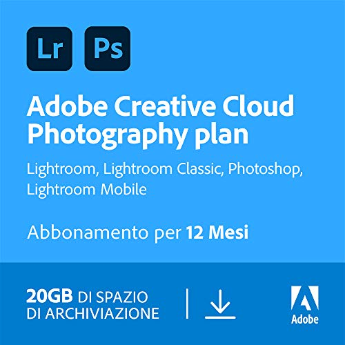 Adobe Creative Cloud Photography Plan with 20GB | 1 Anno | PC/Mac | Codice d'attivazione via email