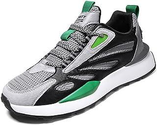 Baskets unisexes en tissu tricoté et maille respirante à lacets - Chaussures de marche décontractées pour le sport et la c...