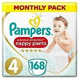 foto Pampers Premium Protection Pañales Pack de ahorro mensual, suave al tacto en la piel en pantalones de pañales fáciles de poner