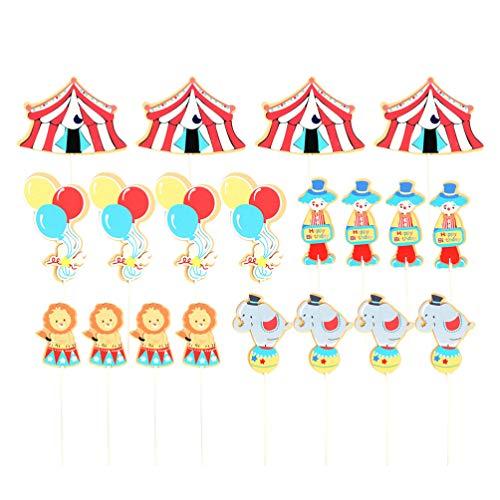 Amosfun 20 Piezas de Circo Cupcake Topper Circus Cake Topper Circus Decoraciones de Pastel de cumpleaños para cumpleaños Baby Shower Fiesta decoración