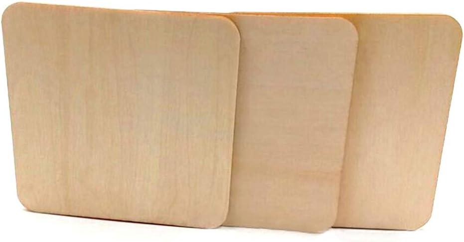 Amosfun Lot de 50 carr/és de bois inachev/és Pour travaux manuels 40 mm pi/èces centrales Rondelles de bois en bois