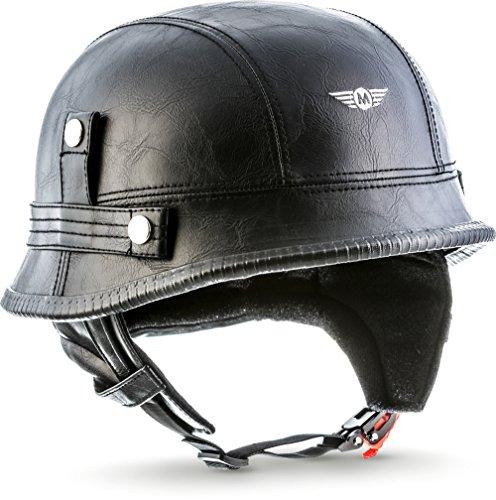 "MOTOHelmets® D33 ""Leather Black"" · Brain-Cap · Halbschale Jet-Helm Motorrad-Helm Roller-Helm Scooter-Helm Bobber Mofa-Helm Chopper Retro Cruiser Vintage Pilot · Schnellverschluss Tasche XXL (63-64cm)"