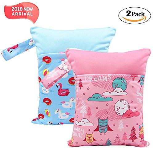 '2 Pack Baby humide et chiffon sec Sacs à langer étanche réutilisable avec deux poches à fermeture éclair, 11,8 X 14,6, animaux, 2 Pack, flamingo&owl, 2