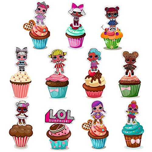 72 Piezas Decoración de la Tarta de cumpleaños de LOL,LOL Happy Birthday Party Supplies Cupcake Topper para Decoraci ón de Niños