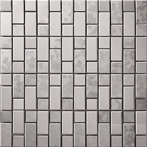 Striscia Mosaico Argento Art Deco metallo mosaico acciaio inossidabile Mosaico muro300*300mm--Cucina Backsplash/Parete da bagno/decorazione domestica(SA054)