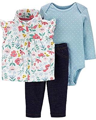 Carter's Baby Girls' 3 Piece Vest Little Jacket Set (18 Months, Blue/Floral)