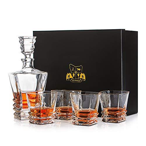 Whisky-Set 'Hobart' von Van Daemon. 4 Whiskygläser (300 ml) und Karaffe (750 ml) aus Kristallglas. Für Scotch, Bourbon und mehr. Spülmaschinenfest mit Geschenkbox.