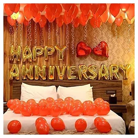 OSG Crafters Happy Anniversary Decoration Kit-48 pcs happy anniversary banner Happy Anniversary Foil Balloons with 30 Metallic Balloons Anniversary decoration items anniversary decorations for home