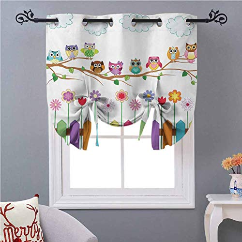 Blackout Roman Shades Curtains Owls on a Branch Sunny Day in Countryside Farmhouse Fences Wildflowers Holidays Art 54 Inches Long Energy Saving Window Curtain Covering for Cafe/Kitchen Multicolor