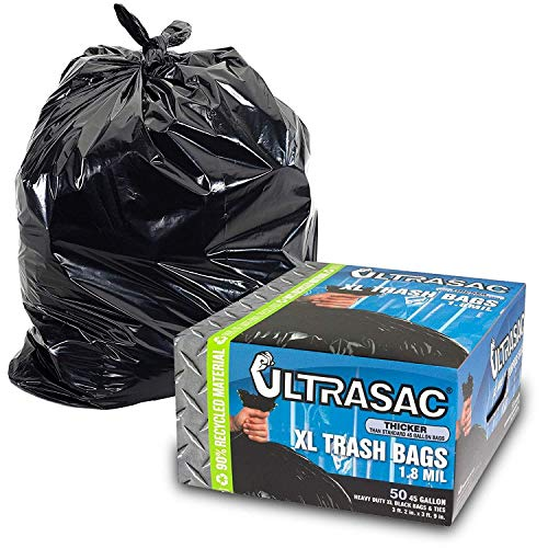 Heavy Duty 45 Gallon Trash Bags by Ultrasac - (HUGE 50 COUNT /w Ties) - 1.8 MIL - 38' x 45' - Large Black Plastic Garbage Bags for Contractor, Industrial, Home, Kitchen, Commercial, Yard, Lawn, Leaf,