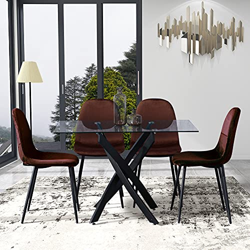 GOLDFAN Rectangular Dining Table and 4 Chairs Glass Kitchen Table Black Metal Legs and Velvet Seat Chairs Dining Table Set, 120cm, Brown
