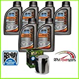 RPM Compatible with Harley Davidson Oil Change Kit V-Twin Primary/Transmission Oil Filter 20w50 6 Compatible with Qt